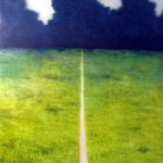 Walk the Line oil on vellum over mirror